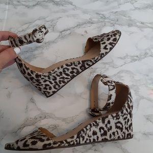 J Crew leopard sparkle wedge  sandal size 7